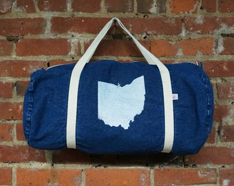 Denim American Apparel Duffel Bag with 'Ohio State' in White Ink