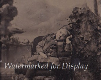 Antique Victorian Tintype of Tired Little Girl in Chair, Button Spats & Black Stockings