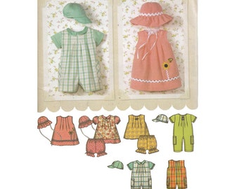 Easy to Sew Babies' Romper, Sundress, Top, Bloomers and Hat in Two Styles Simplicity 4243 Unisex Baby Sewing Pattern Size 6-18 months