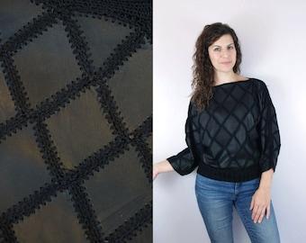 1990s 1980s Vintage Black Leather Patchwork Diamond Knit Batwing Avant Garde Pullover Sweater Jacket / Long Sleeve Solid Black Jumper / M L