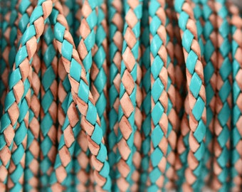 3mm Braided Leather - Turquoise and Natural - Bolo Leather Cord - 12 Feet