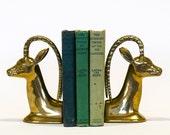 Brass Ibex Bookends, Mid Century Modern Vintage Home Decor