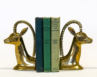 Brass Ibex Bookends, Mid Century Modern Vintage Home Decor