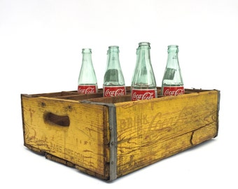 Coca Cola Box Crate, Yellow 12 Bottle Carrier, Oregon Americana