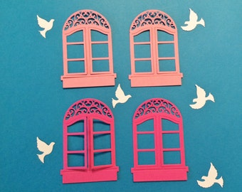 Open Windows, Pink, Dark Pink, White Doves, Windows Open, 3 1/2 tall, 2 1/2 wide, Handmade, Embellishments