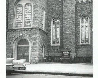 Cadillac Tail Fins - Vintage Photo - Old Car - Out of Frame - Brick Church - Snapshot - Sidewalk - Stained Glass Windows - Photography