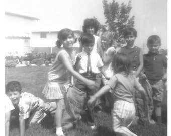 Vintage Snapshot - Neighborhood Gang - Vintage Photo - Kids Playing in the Yard - Blurry - Motion - Games - Found Vernacular Photo
