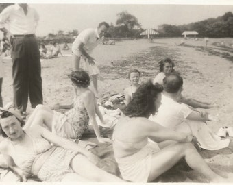 Vintage Snapshot - Beach Party - Bathing Beauties - Vintage Swimsuits - Seaweed - Bad Crop - Out of Frame - Found Original Photo