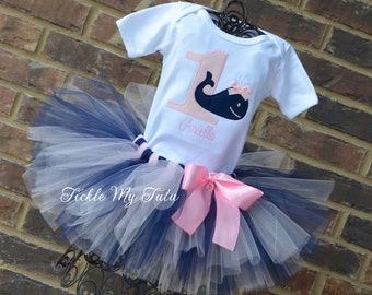 Whale Themed Birthday Tutu Outfit-Ocean Themed Birthday Tutu Outfit-Under the Sea Birthday Tutu Set-Nautical Themed Tutu Outfit
