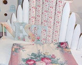 Vintage Pink Cabbage Roses Barkcloth Fabric Panel Pebblecloth Pink Cream Cottage Chic 21 X 78
