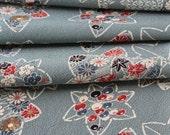 Kimono Silk, Kimono Fabric, Floral Silk, Japanese Kimono, Blue Material, Cherry Blossom Kimono