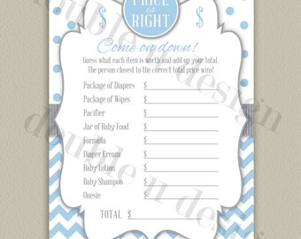 INSTANT DOWNLOAD - Price is Right Baby Shower Game - Blue with Gray Accents - Printable DIY