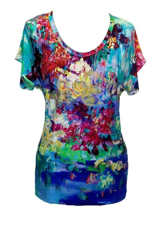 Floral Cotton Shirt, Plus Size Shirt, Blue Shirt, Impressionist Painting Print, Women Shirt, Summer Shirt, Designers Shirt, Flowers Print