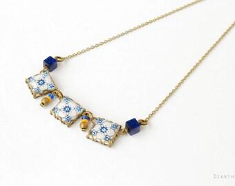 Assunçao. Vintage pattern tile necklace. Cement tile Necklace with art nouveau ceramic tile pattern. Blue and white
