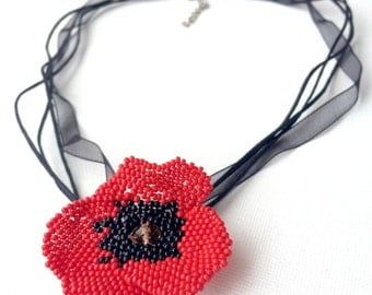 Poppy flower necklace - simple flower necklace - multiple row necklace - beaded poppy flower accessory