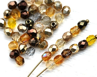 4mm Golden Topaz mix czech glass beads, fire polished spacers, round beads - 50Pc - 1814