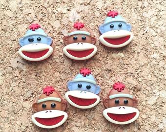Sock Monkey Pushpins, Thumbtacks, Cork Board Decor, Office, Message & Bulletin Board, Magnets