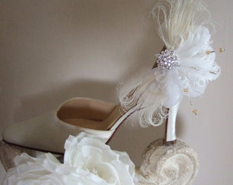 """Pair White Cream Gold Silver Bridal Curled Nagoire Feathers + Crystals """"Lena"""" Shoe Clips - Vintage Rustic Inspired Gatsby Art Deco Weddings"""