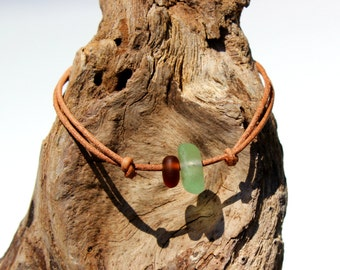 Hawaiian Aqua Beach Glass and Brown Beach Glass Tiny on India Leather Cord Completely Adjustable & Stackable Bracelet