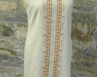 LINEN LOOK SHIFT vintage dress with embroidery 60's 1960's S