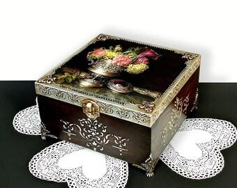 Big Hand Decorated  Box, Antique Jewelry Box, Distressed silver Box, Trinket Box, sewing box, dark brown box with silver