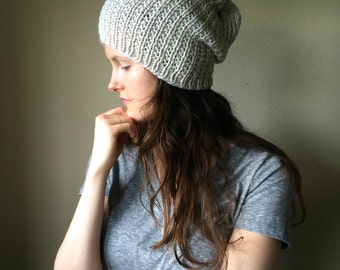 Neutral Knit Slouchy Hat / Cream Ivory Knitted Tam Slouch Hat / Vegan Yarn