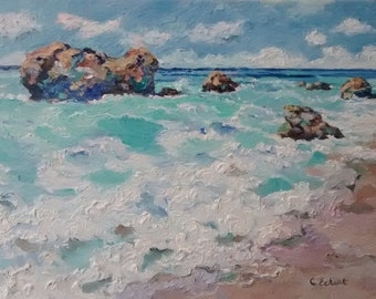 Bathtub Beach, Impasto impressionist painting, Original oil painting on stretched canvas, Palette knife painting on canvas, Beach and Rocks