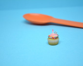 Cupcake Charm- Strawberry Sprinkle Cupcake Charm