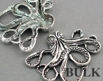 Large Octopus Charms BULK order Antique Silver 10pcs pendant beads 35X43mm CM0246S