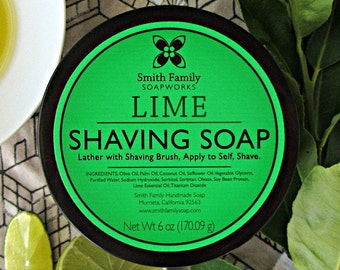 Lime Shave Soap, Olive Oil Shave Soap, Handmade Shaving Soap,