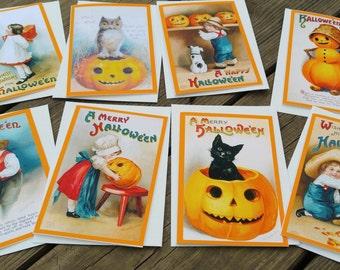 HALLOWEEN NOTE CARDS 8 Holiday Blank Note Card Set Victorian Handmade Vintage Inspired Victorian Halloween Postcards Ellen Clapsaddle