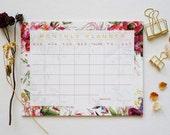 Floral Monthly Calendar, Desk Pad, Desk Calendar, Agenda