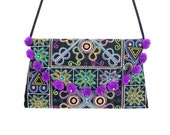 Trendy Cross Body Bag Embroidered Fabric with Cotton Pom Pom (BG4733-23C2)