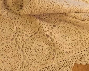Romantic hand crocheted vintage pillow sham pair