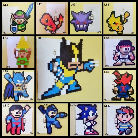 Link Perler Bead Light Switch Cover/ Plate - zelda - super nintendo - street fighter - pokemon - sonic - xmen