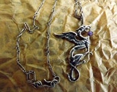 Sterling Silver Griffin necklace, with Amethyst orb, griffon, Gryphon, pendant, Vintage, talisman, Medieval, fantasy, art nouveau jewelry