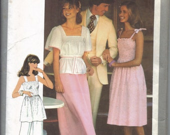Misses Pants, Skirt, Dress, and Top Pattern for Pre-Shirred Fabrics, Shirred Sundress and Summer Shirt, Long Skirt, Wide Leg Pants, Size 12