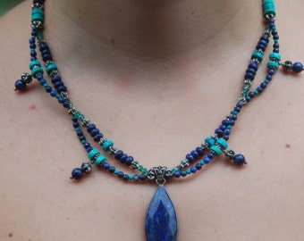 Turquoise and Lapis Two-Strand Intertwined Necklace