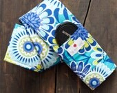 DSLR Camera Strap Cover- lens cap pocket and padding included- Blue and Green Floral