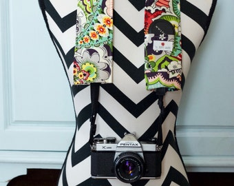 DSLR Camera Strap Cover- lens cap pocket and padding included- Colorful Tattoo