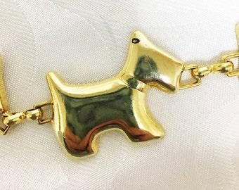 Scottie Dog Chain Belt ~ Vintage Fashion Belt