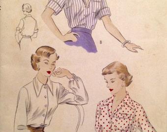 """Vintage 1950s Vogue Misses' Blouse Pattern 6756 Size 14 (32"""" Bust)"""
