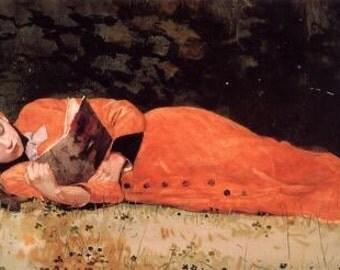 Fine Art Print of A New Novel by Winslow Homer