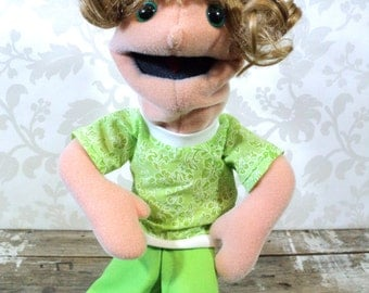 Plush Hand Puppet doll, soft, moving mouth, girl, teenager, sesame street style, blonde hair, green