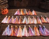 "Silky Rainbow Tassels Set Of 25 ,  3""inch Tassels With Silver/Gold Tie Thread, jewelry supply"