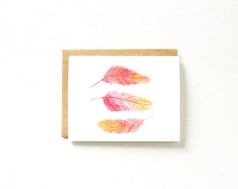 Feather Card, Watercolor Feather, Watercolor Card, Feather Stationery, Blank Card, Card for Mom, Card for Girlfriend Stationery, Paper Goods