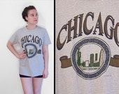 Chicago Tee Shirt 1994 Accent Gray Navy Pinstripes Unisex Med
