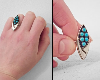 ZUNI Navette Ring 1970s American Indian Turquoise Mother of Pearl US Size 4.5