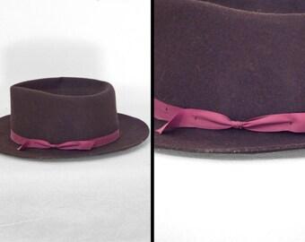 EFFANEM Wool Hat Crusher Style 1960s Brown + Burgundy Size 7