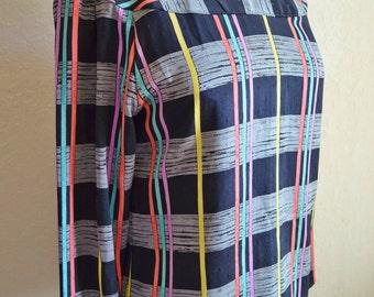Vintage Abstract Print Long Sleeve Polyester Blouse Black Grey Purple Aqua Pink Yellow